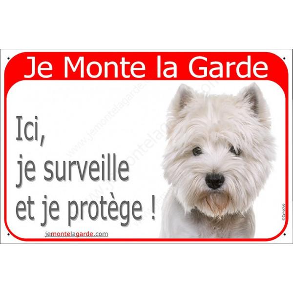 Plaque portail rouge, Je Monte la Garde, Westie Tête, surveille et protège, panneau pancarte attention au chien Westy