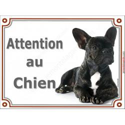 Plaque portail Attention au Chien, Bouledogue Français bringé Couché pancarte panneau bringué
