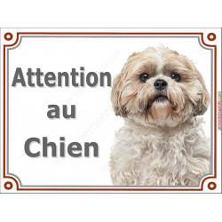 Plaque 2 tailles LUXE Attention au Chien, Shih-Tzu fauve Tête