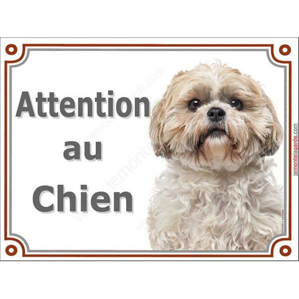 Plaque portail Attention au Chien, Shih-Tzu fauve Tête pancarte panneau Shih-Tsu