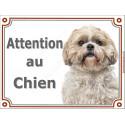 """Shih-Tzu fauve Tête, plaque portail """"Attention au Chien"""" 2 tailles LUXE"""