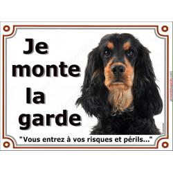 Plaque portail Je Monte la Garde, Cocker Anglais noir et feu Tête pancarte panneau spaniel