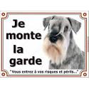 """Schnauzer poivre et sel Tête, plaque portail """"Je Monte la Garde"""" 2 tailles LUXE"""