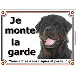 Plaque 2 tailles LUXE Je Monte la Garde, Rottweiler Tête