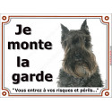 """Schnauzer noir, plaque """"Je Monte la Garde"""" 2 tailles LUX C"""
