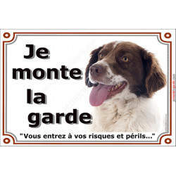 Plaque 2 tailles LUXE Je Monte la Garde, Epagneul Breton marron foie Tête