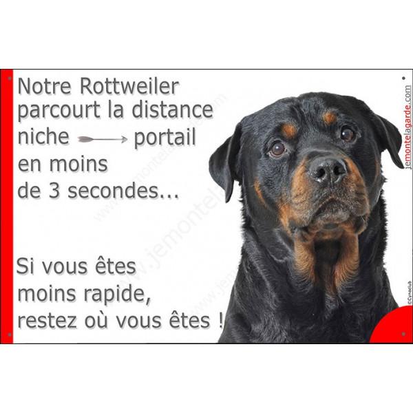 Rottweiler Tête, Plaque Portail distance niche-portail 3 secondes, pancarte, affiche panneau Rotweiler drôle marrant humour