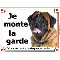 Plaques portail 4 tailles je Monte la Garde, Mastiff tête, risques et périls pancarte panneau mastif fauve