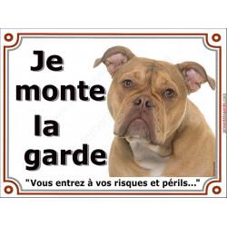 Plaque portail Je Monte la Garde, Old English Bulldog tête risques et périls pancarte panneau anglais photo race