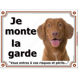 Plaque portail 2 tailles Je Monte la Garde, Nova Scotia Retriever de nouvelle Ecosse tête, risques et périls pancarte panneau at