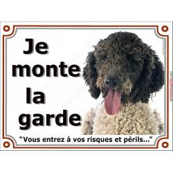 Plaque portail 2 tailles Je Monte la Garde, Chien d'Eau Espagnol blanc et noir tête risques et périls pancarte panneau turc