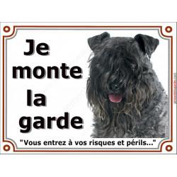 Plaque portail 2 tailles Je Monte la Garde, Terrier Kerry Blue tête, risques et périls pancarte panneau Kery bleu