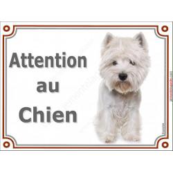 Plaque 2 tailles LUXE Attention au Chien, Westie toiletté