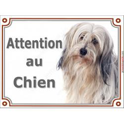 Plaque portail 2 tailles Attention au Chien, Terrier du Tibet fauve poils longs Tête pancarte panneau tibétain sable beige