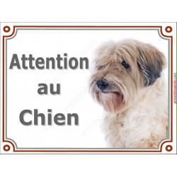 Plaque portail 2 tailles Attention au Chien, Terrier du Tibet fauve Tête pancarte panneau tibétain