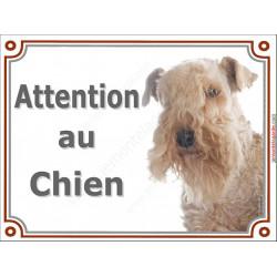 Plaque portail 2 tailles Attention au Chien, Lakeland Terrier Tête pancarte panneau Patterdale