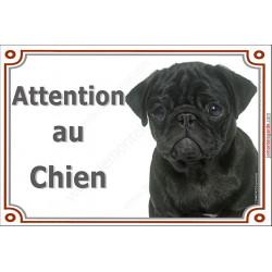 """Carlin noir Tête plaque portail """"Attention au Chien"""" 2 tailles LUXE"""