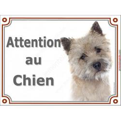 Plaque 2 tailles LUXE Attention au Chien, Cairn Terrier Tête
