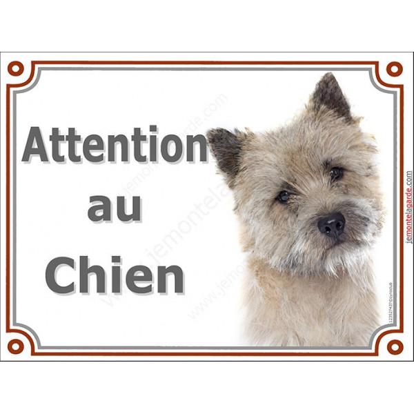 Plaque portail 2 tailles Attention au Chien, Cairn Terrier Tête pancarte panneau