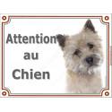 """Cairn Terrier Tête, plaque portail """"Attention au Chien"""" 2 tailles LUX A"""