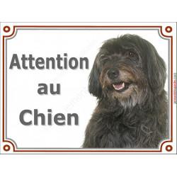 Plaque portail 2 tailles Attention au Chien, Labrit noir Tête, Berger des Pyrénées pancarte panneau Pyrénnées