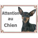 Plaque 2 tailles LUXE Attention au Chien, Pinscher noir et feu Tête