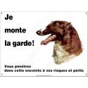 Plaque 26,5 cm ECO Je Monte la Garde, Lévrier Barzoï