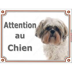 Plaque portail 2 tailles Attention au Chien, Shih-Tzu Fauve Tête pancarte panneau marron sable beige