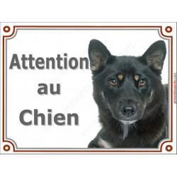 """Shiba Inu noir et feu Tête, plaque portail """"Attention au Chien"""" pancarte panneau chien japonais"""