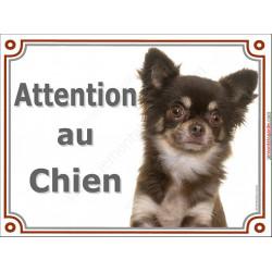 Plaque portail 2 tailles Attention au Chien, Chihuahua marron et beige à poils longs Tête pancarte panneau chocolat brun
