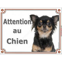 Plaque portail 2 tailles Attention au Chien, Chihuahua noir et feu à poils longs Tête pancarte panneau