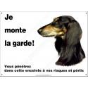 Plaque 26,5 cm ECO Je Monte la Garde, Lévrier Saluki