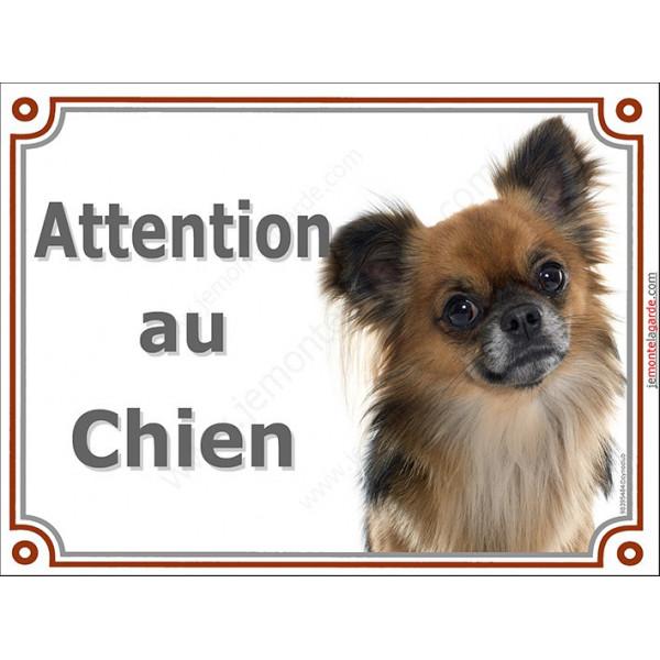 Plaque portail 2 tailles Attention au Chien, Chihuahua fauve charbonné à poils longs Tête pancarte panneau