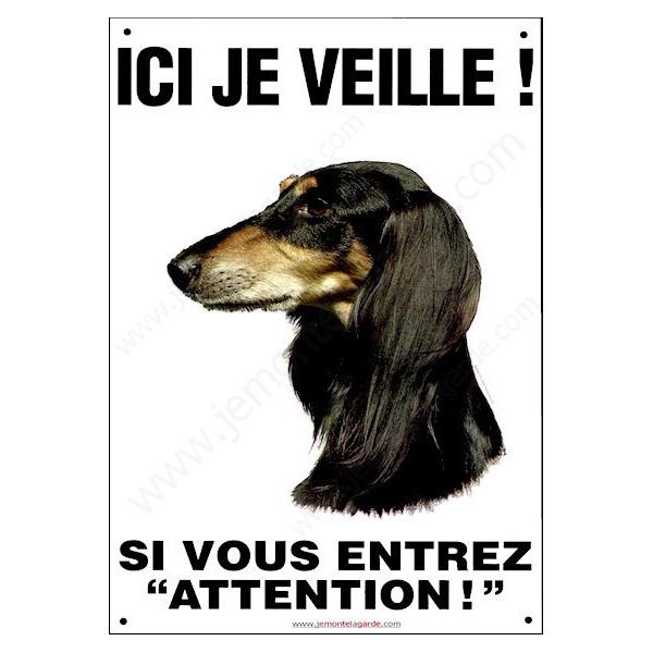 Lévrier Saluki, Pancarte portail Verticale Ici je Veille, plaque affiche, panneau attention chien