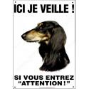 Plaque 26,5 cm ECO Ici je Veille, Lévrier Saluki