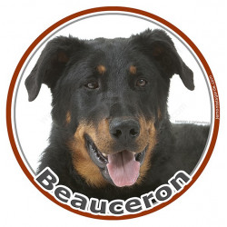 Sticker ronds 15 cm, Beauceron Tête