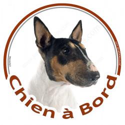 """Sticker autocollant rond """"Chien à Bord"""" 15 cm, Bull Terrier tricolore Tête, adhésif vitre voiture, chien auto"""