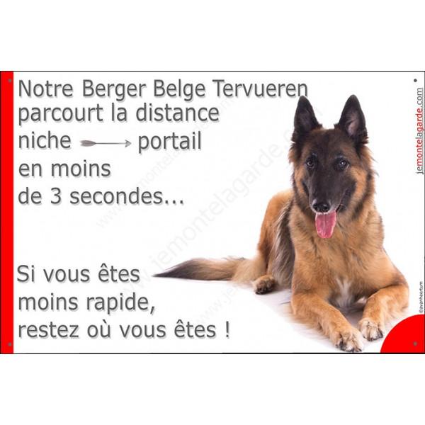 Berger Belge Tervueren couché, Plaque Portail distance niche-portail 3 secondes, pancarte, affiche panneau attention au chien ph