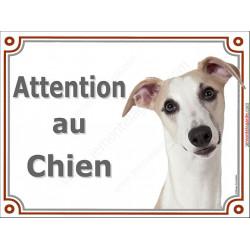 """Whippet fauve Tête, plaque portail """"Attention au Chien"""" 3 tailles LUX A"""