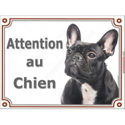 Plaque 3 tailles LUXE Attention au Chien Bouledogue Français Bringé Tête