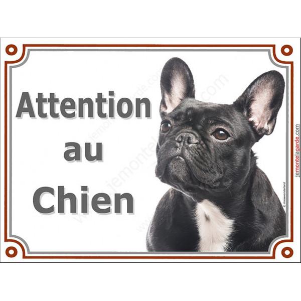 Bouledogue Français Bringé Tête, Plaque portail Attention au chien, panneau affiche pancarte