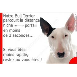 Plaque 24 cm 3SEC, Distance Niche - Portail, Bull Terrier Blanc oreille noire tête