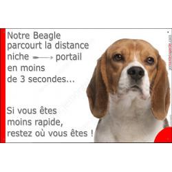 Plaque humour 24 cm, Distance Niche - Portail moins de 3 secondes, Beagle Tête, pancarte drôle marrant plaque