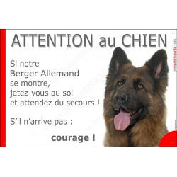 """Berger Allemand, plaque """"Jetez Vous au Sol, Attention au Chien"""" 24 cm JET"""
