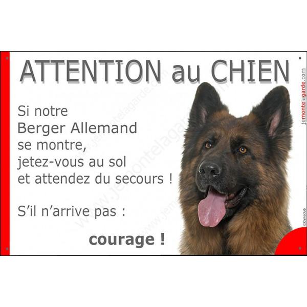 Plaque portail humour 24 cm, Jetez Vous au Sol, Berger Allemand poils longs Tête, attention au chien, pancarte drôle panneau