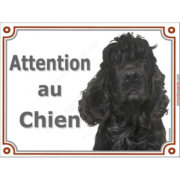 Plaque portail 2 tailles attention au chien, Cocker Américain noir tête pancarte panneau usa