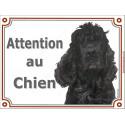 Plaque 2 tailles LUXE attention au chien, Cocker Américain noir tête