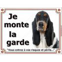 """Basset Hound tricolore Tête, plaque portail """"Je Monte la Garde"""" 2 tailles LUXE"""