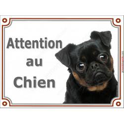 Plaque 2 tailles LUXE Attention au Chien, Brabançon tête