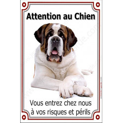 "St-Bernard couché, plaque verticale ""Attention au Chien"" 24 cm LUX"